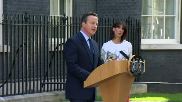 david cameron leaves downing street: legacy; 24.6.2016 downing street: ext david cameron making resignation speech on morning after eu referendum... - quitting a job stock videos & royalty-free footage