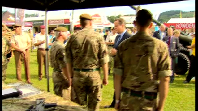 david cameron liz truss and stephen crabb visit royal welsh show wales powys royal welsh show ext helicopter flying overhead / soldier sitting on top... - powys stock videos & royalty-free footage