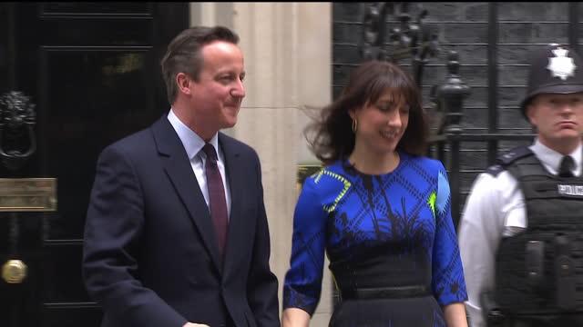 David Cameron makes acceptance speech at Downing St establishing majority Conservative Government Shows exterior shots David Samantha Cameron walking...