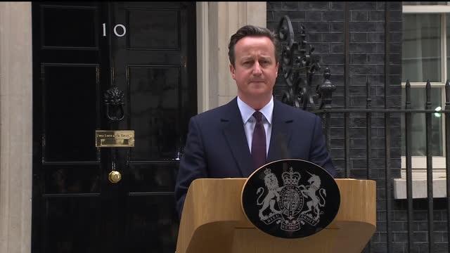 David Cameron makes acceptance speech at Downing St establishing majority Conservative Government Shows exterior shot David Cameron talks up his...