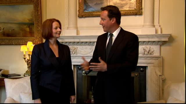 David Cameron meets Australian PM Julia Gillard ENGLAND London Downing Street No10 PHOTOGRAPHY*** David Cameron MP and Julia Gillard into room and...
