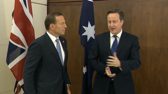 David Cameron meets Australian Prime Minister Tony Abbott SRI David Cameron MP andTony Abbott along and speaking to press SOT