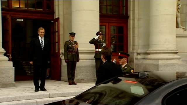 David Cameron meets Enda Kenny at Government Buildings REPUBLIC OF IRELAND Dublin Government Buildings EXT David Cameron MP out of car and along to...