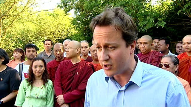 david cameron meets members of london burmese community david cameron mp interview sot must do everything we can to make sure aid gets through/ un... - trigger stock videos & royalty-free footage