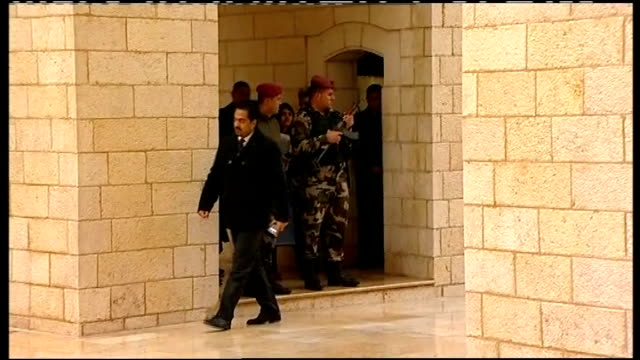 david cameron meets palestinian president mahmoud abbas israel west bank bethlehem people sweeping rain from steps / mahmoud abbas and entourage... - church of the nativity stock videos and b-roll footage