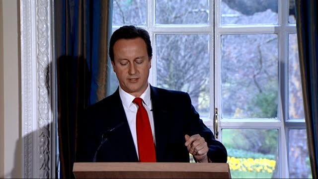 david cameron military covenant press conference; take the nhs if you're the wife of a serving soldier and need a knee replacement, when your husband... - 証書点の映像素材/bロール
