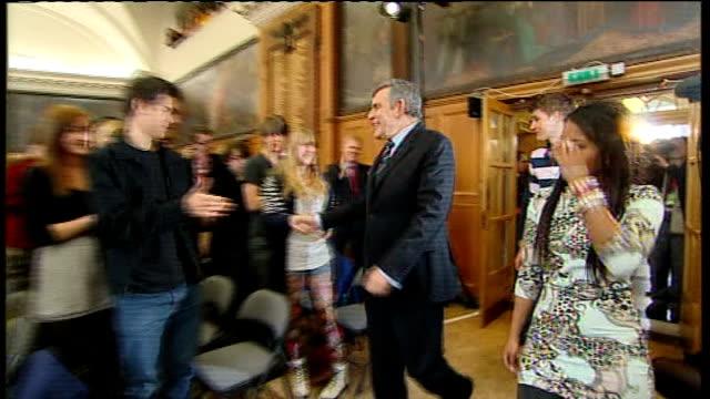 David Cameron MP speech SOT last night on the TV Debate I felt a bit like I was part of Britain's worst boy band Gordon Brown cheered by student...