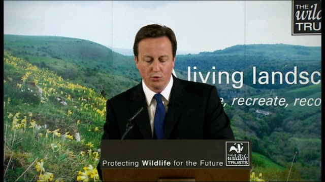 David Cameron nature reserve visit and biodiversity speech David Cameron speech continued SOT Conservative belief in social responsibility/...