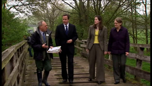 David Cameron nature reserve visit and biodiversity speech ENGLAND Oxfordshire Witney Chimney Meadows Nature Reserve EXT David Cameron MP out of...