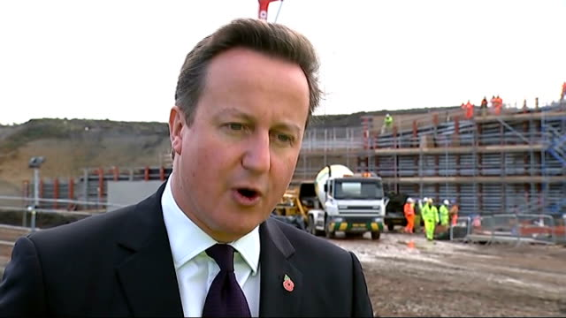 david cameron on tour of skanska site david cameron mp interview sot announcing that we are spending 15 billion pounds on our nation's road between... - pennines stock videos & royalty-free footage