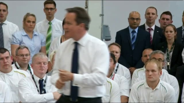 David Cameron PM Direct event at Bentley factory ENGLAND Cheshire Crewe Bentley INT Man introduces David Cameron to Bentley workers at PM Direct...