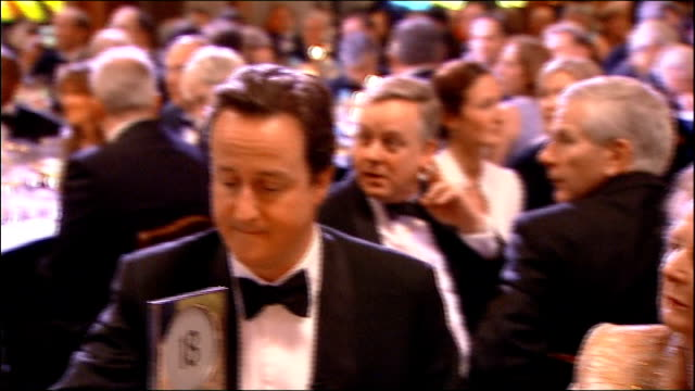 vídeos y material grabado en eventos de stock de david cameron presents margaret thatcher with a lifetime achievement award ext / night thatcher and cameron along corridor with others thatcher and... - clive anderson