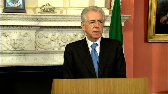 david cameron press conference with italian prime minister mario monti press conference sot thanks cameron for his hospitality on long standing... - italian currency stock videos & royalty-free footage