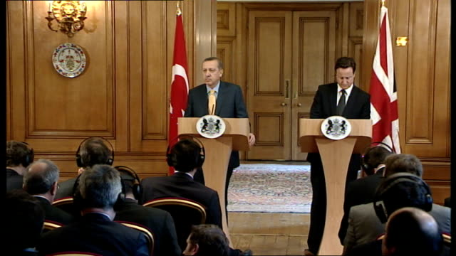David Cameron press conference with Turkish counterpart David Cameron and Recep Tayyip Erdogan Questin and Answer session SOT on defection of former...