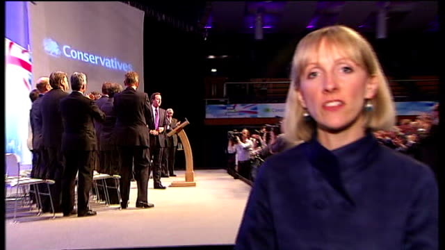 david cameron promises to lead government of thrift; gloucestershire: cheltenham: int reporter to camera - bonding stock videos & royalty-free footage