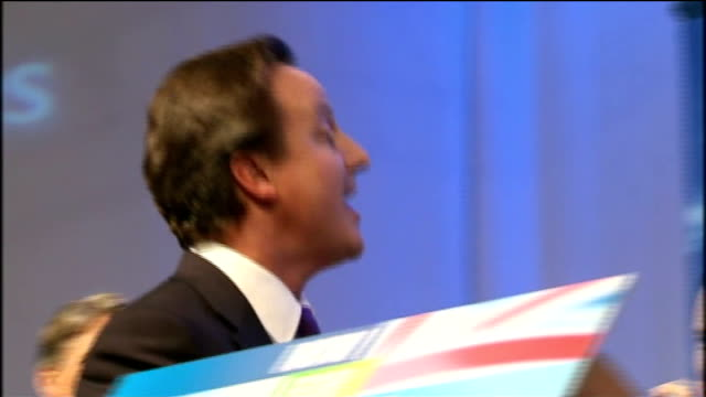 david cameron promises to lead government of thrift gloucestershire cheltenham int cameron waving from stage during finale of conservative spring... - bonding stock videos & royalty-free footage