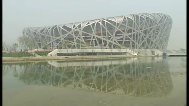 vídeos de stock e filmes b-roll de david cameron rejects call to boycott 2014 winter olympics over anti-gay laws in russia; t16040819 / china: beijing: beijing national stadium: ext... - vista geral