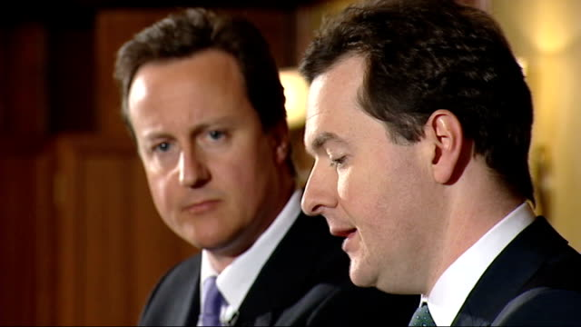 david cameron responds to critics in mail on sunday article lib cameron and george osborne mp at press conference - article stock videos and b-roll footage