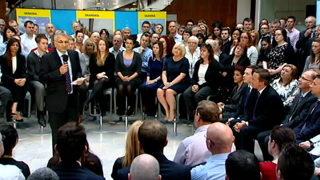 Question and answer session ENGLAND Hertfordshire Rickmansworth INT David Cameron MP and George Osborne MP arriving for question and answer session...