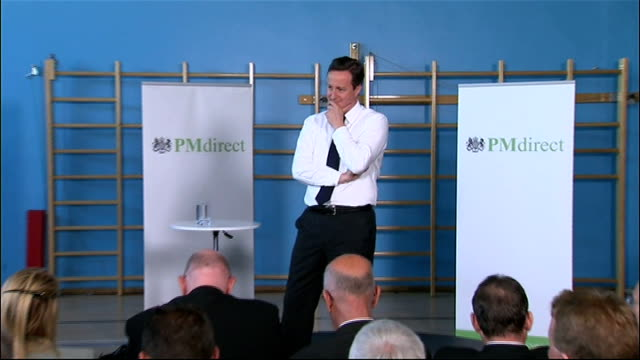 david cameron speaks at his first pm direct meeting in leeds david cameron mp qa session sot on need for budget cuts and government to spend savings... - cut video transition stock videos & royalty-free footage