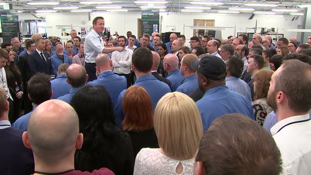 David Cameron speaks to staff at Kelvin Hughes Shows interior shots David Cameron making pledges to employees at Kelvin Hughes talking up his plans...