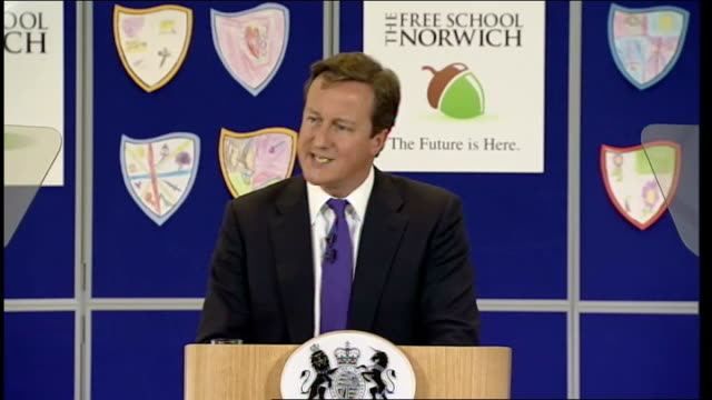 """david cameron speech at free school in norwich; david cameron speech sot - """"so, there are three very bold things we're doing. one: ramping up... - new age stock videos & royalty-free footage"""