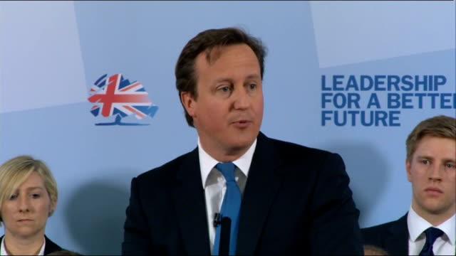 David Cameron speech at launch of local election campaign **BEWARE FLASH PHOTOGRAPHY** David Cameron MP speech SOT **Script Transcript CHECK Take...