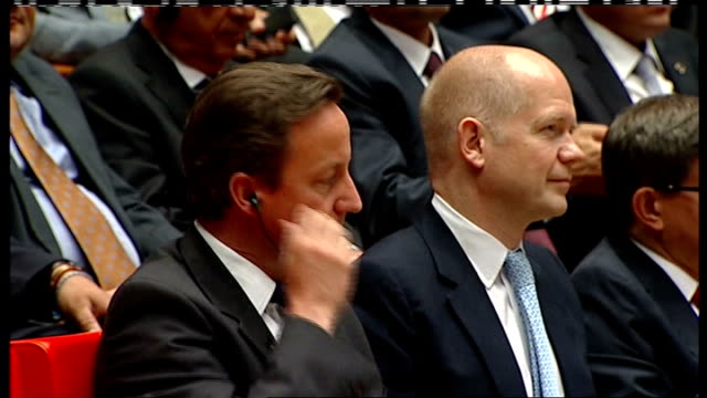 david cameron speech in turkey cutaways turkey ankara photography * * william hague mp arriving at press conference / hague seated talking to ahmet... - will.i.am stock videos & royalty-free footage