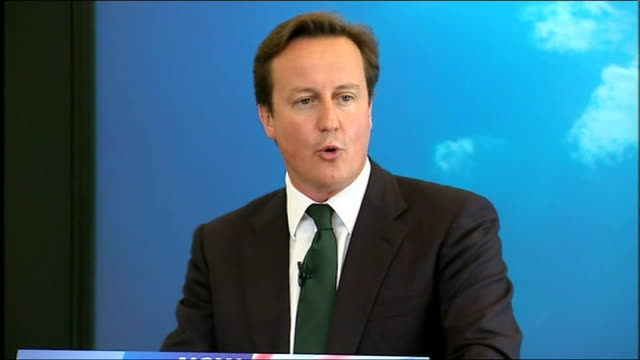 David Cameron speech on cutting the cost of politics ENGLAND London INT David Cameron MP along to podium and speech SOT Today there is one issue that...