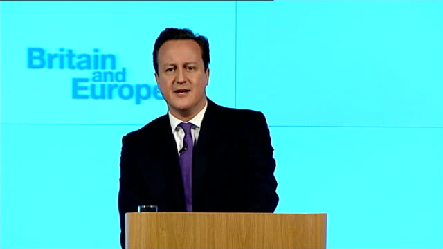david cameron speech on european union membership referendum pledge london david cameron speech sot democratic consent for the eu in britain is now... - wafer stock videos and b-roll footage