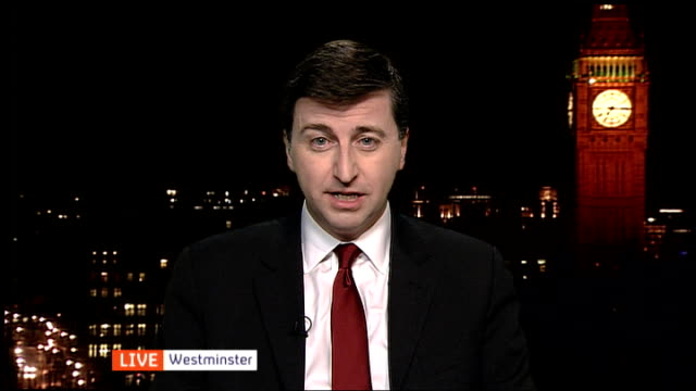 david cameron speech on european union membership: referendum pledge; england: london: gir: int douglas alexander mp live studio interview from... - ダグラス アレキサンダー点の映像素材/bロール
