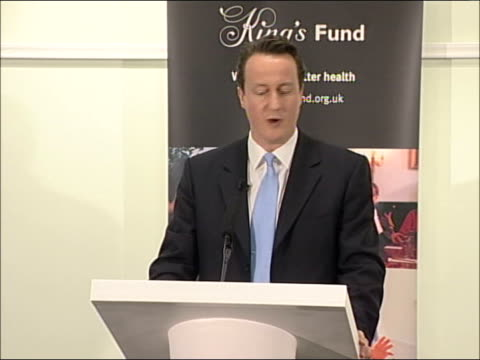david cameron speech on health; david cameron mp speech sot - good morning an happy new year/ world and conservative party are changing/ conservative... - the world's end stock videos & royalty-free footage