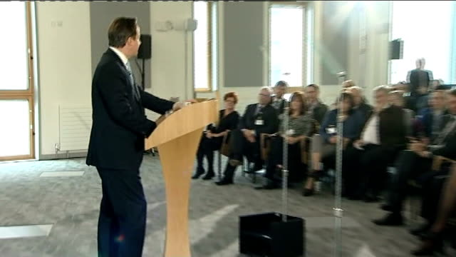 david cameron speech on immigration cutaways england suffolk ipswich university campus suffolk int david cameron mp into room and takes seat /... - east anglia stock videos and b-roll footage