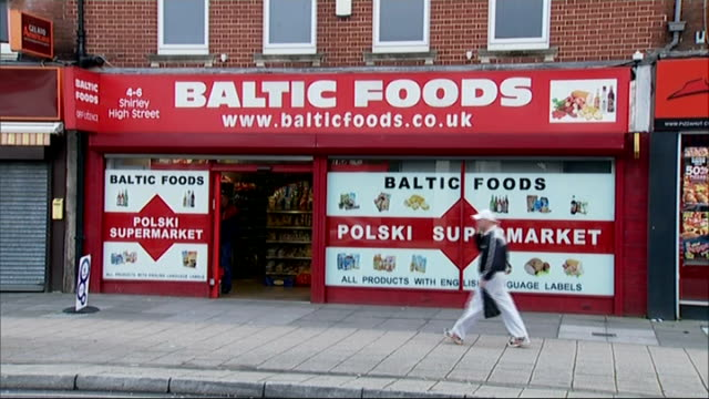 reaction in southampton england hampshire southampton ext general view of 'baltic foods' store people along street lukasz szlek setup shots with... - southampton hampshire stock-videos und b-roll-filmmaterial
