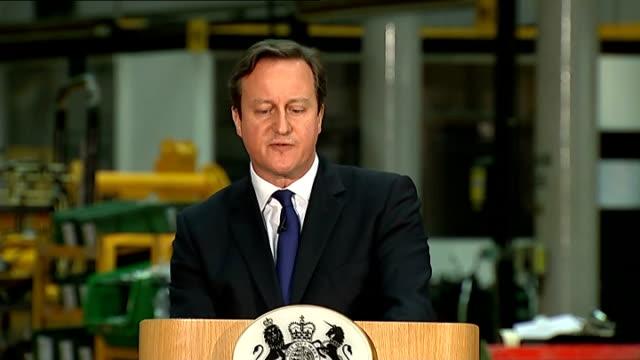 David Cameron speech on immigration Staffordshire JCB factory INT CUTAWAYs of David Cameron delivering speech to JCB workers David Cameron speech SOT...