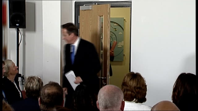 David Cameron speech on internet pornography ENGLAND East London Shoreditch NSPCC INT David Cameron MP into room / NSPCC official introduction speech...
