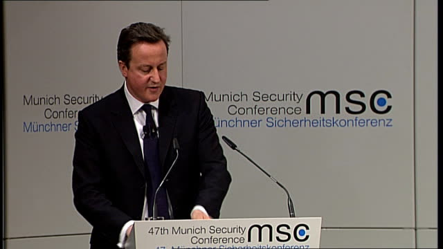 david cameron speech on multiculturalism / edl march in luton germany munich int david cameron mp speech to munich security conference sot under the... - responsibility stock videos & royalty-free footage