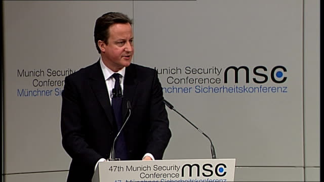 david cameron speech on multiculturalism / edl march in luton germany munich int general view and close shot of david cameron mp speech to the 47th... - multiculturalism stock videos & royalty-free footage