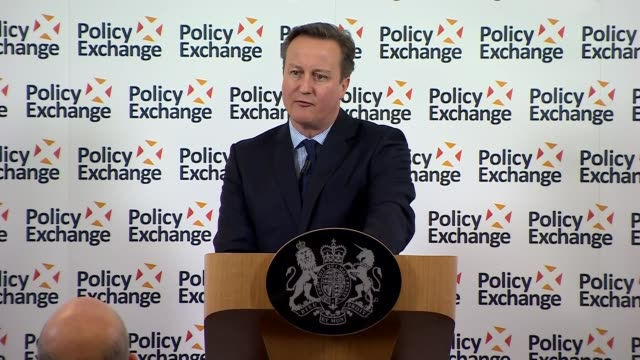 David Cameron speech on prison reforms ENGLAND London Westminster INT Dean Godson introducing David Cameron SOT / David Cameron MP speech SOT