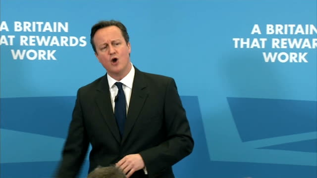 david cameron speech on the economy question answer session cameron answering questions sot includes comments on hoax telephone call he received... - collegio elettorale video stock e b–roll