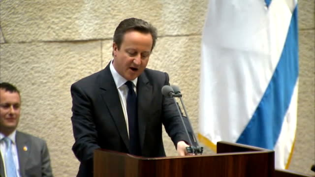 Jerusalem INT David Cameron MP speech to Knesset SOT Shalom lekulam Prime Minister Mr Netanyahu Mr Speaker Mr Chairman of the Opposition Members of...