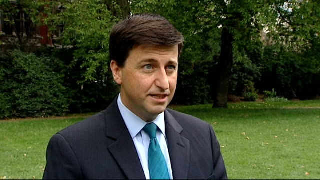 david cameron suggests referendum on eu is possible; england: london: westminster: ext douglas alexander mp interview sot - douglas alexander stock videos & royalty-free footage