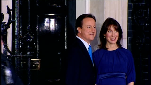 david cameron 'terrified' by lack of good state schools in london; england: london: westminster: downing street: ext/dusk lib david cameron mp... - entering stock videos & royalty-free footage
