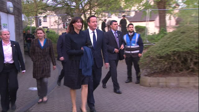 David Cameron the Conservatives win election Shows exterior shots David Cameron leaving counting hall with Samantha Cameron getting into car to...