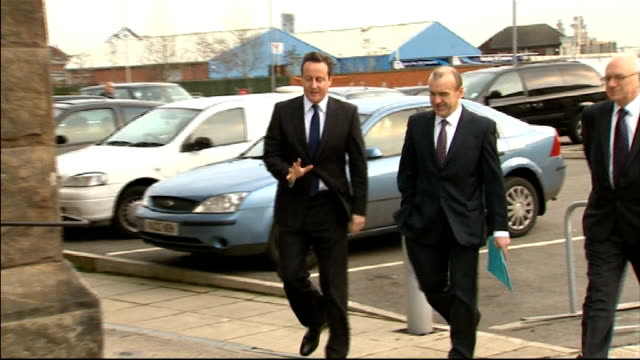 visit to wirral waters development with lord heseltine england merseyside birkenhead wirral wallasey ext david cameron mp arriving at peel holdings... - northwest england stock videos and b-roll footage