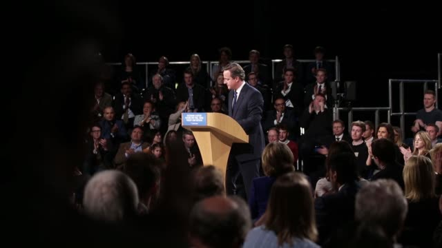 David Cameron UK prime minister and leader of the Conservative party speaks during the Conservative Party Spring Forum in Manchester UK on Saturday...