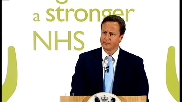 """david cameron unveils changes to nhs reforms; cameron drinking glass of water and speaking sot - [on whether he """"sometimes wishes he'd never got... - take that stock videos & royalty-free footage"""