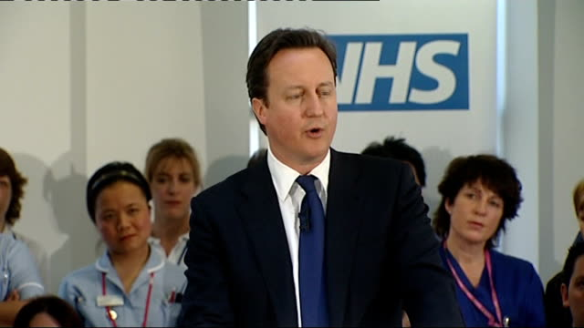david cameron unveils changes to nhs reforms england london int david cameron mp along to podium camberley frimley park hospital david cameron mp... - t in the park stock-videos und b-roll-filmmaterial