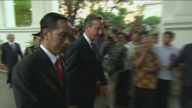 stockvideo's en b-roll-footage met comments on possible airstrikes against islamic state cameron and widodo along david cameron mp press conference sot the uk will provide a package of... - mogelijk