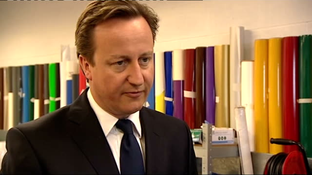 david cameron visit to barry business park david cameron mp interview sot re response to families being worse off with tax credits cuts i don't... - barry took stock-videos und b-roll-filmmaterial